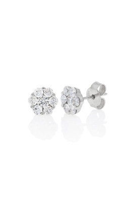 18kt white gold 1ct diamond cluster studs product image