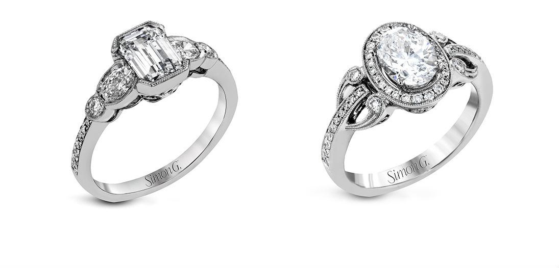 Simon G's Vintage Explorer engagement ring collection at BENARI JEWELERS