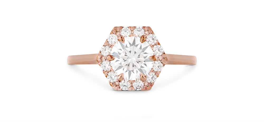 Hearts on Fire Hexagonal Rose Gold Engagement Ring