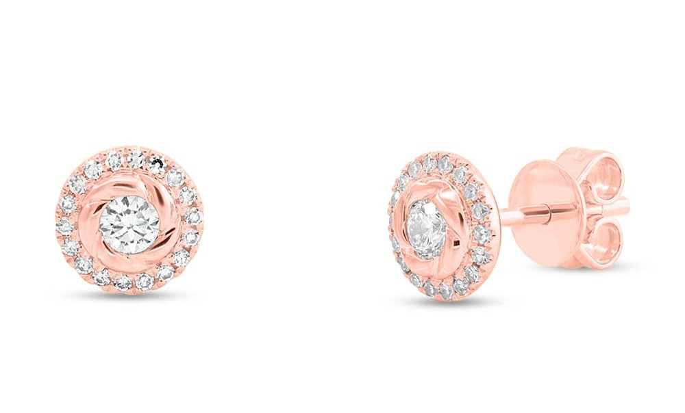Rose gold earrings at Benari Jewelers