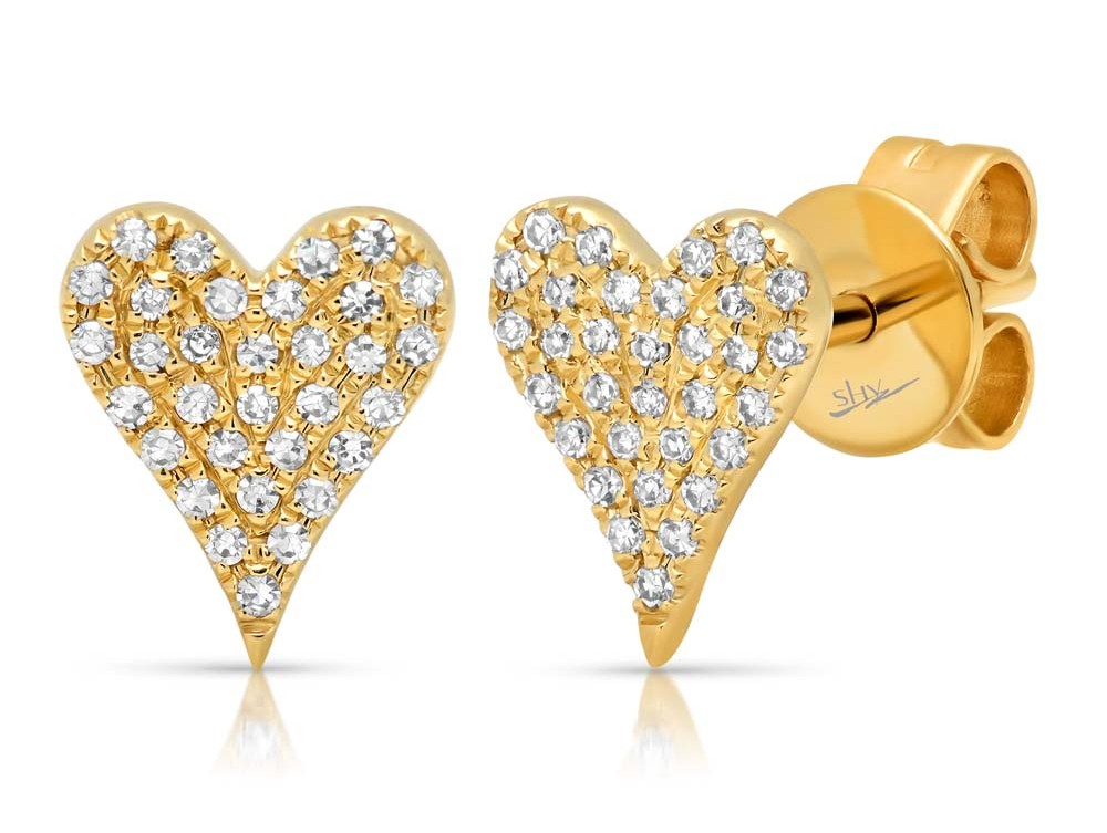 Yellow gold earrings at Benari Jewelers