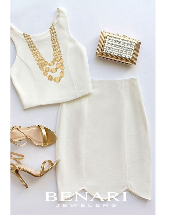 White holiday outfit with gold accessories - Marco Bicego necklace available at BENARI JEWELERS
