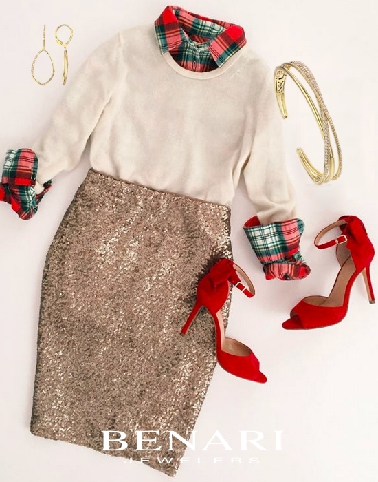 How to Wear Plaid and Glitter this Holiday - With yellow gold jewelry avaialble at BENARI JEWELERS