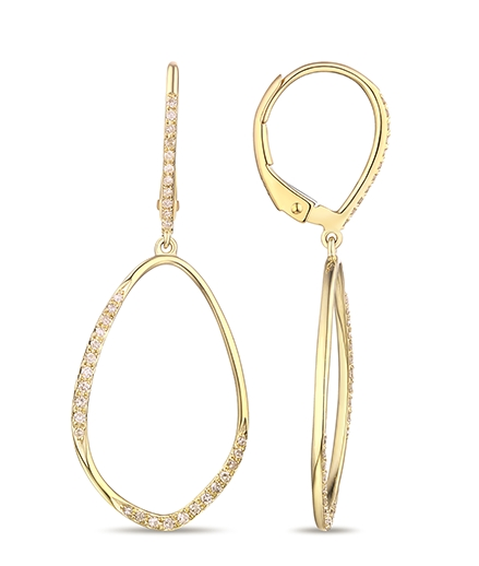 Luvente yellow gold drop earrings - Available at BENARI JEWELERS